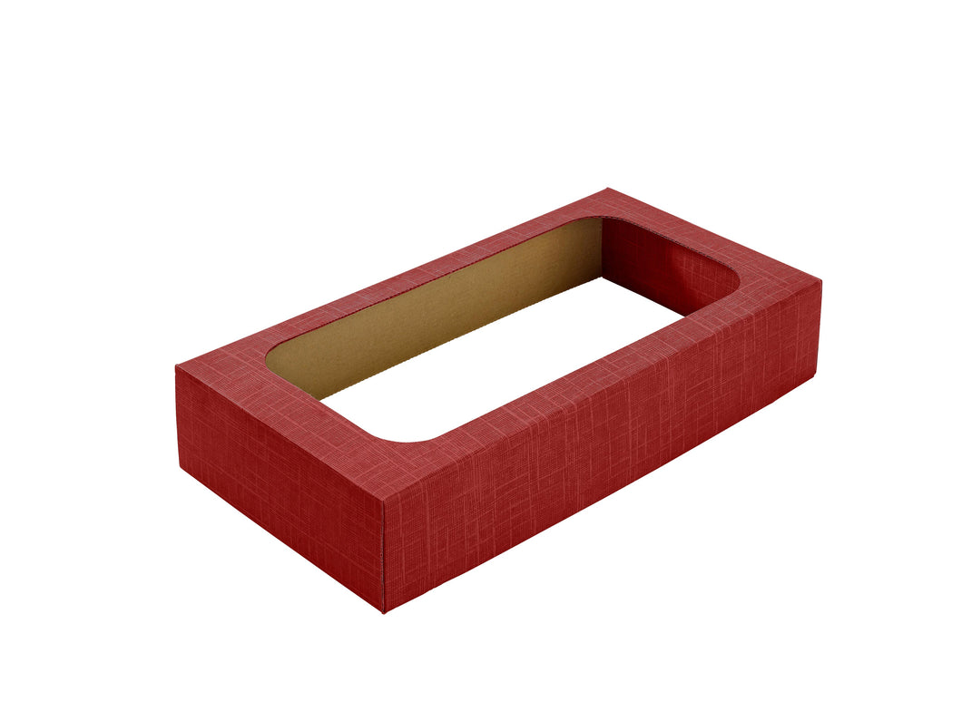 Wine box lid with window for 2 bottles in red (x25)