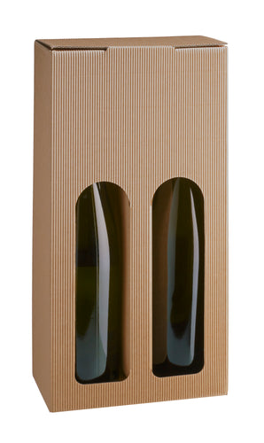 Kraft open fluted box with window for 2 bottles in beige (x50)
