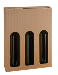 Kraft open fluted box with window for 3 bottles in beige (x50)