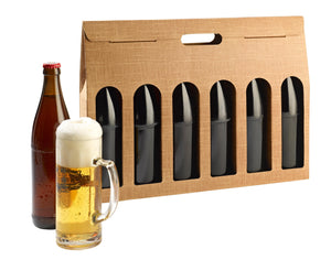 Scala beer box with window for 6 bottles in beige (x25)
