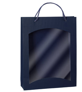 Fluted bag with window for 3 bottles in blue (loose cord) (x25)