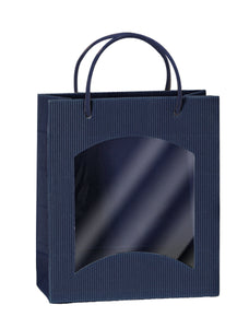 Fluted deli bag with window in blue (loose cord) (x25)