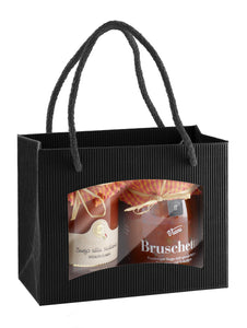 Small fluted deli bag with window in black (loose cord) (x25)