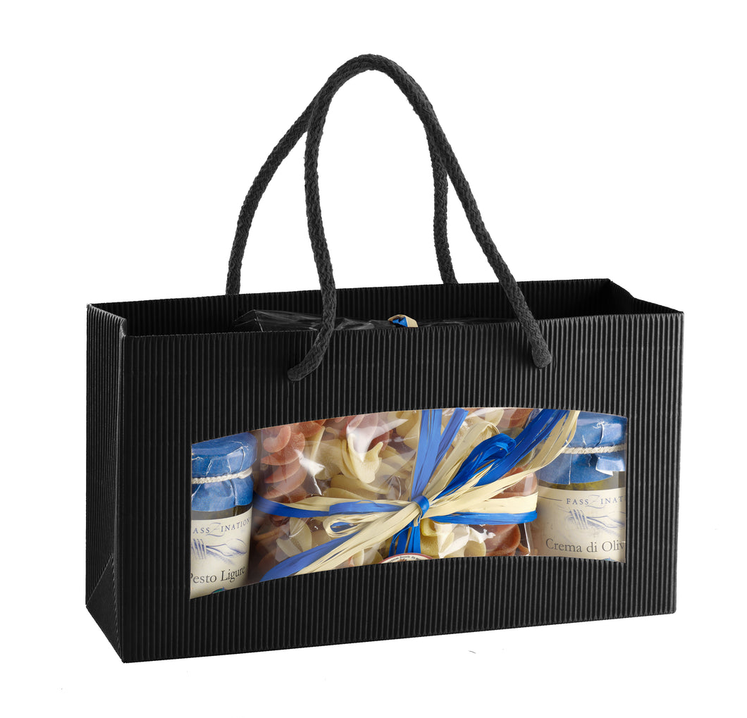 Medium fluted deli bag with window in black (x25)