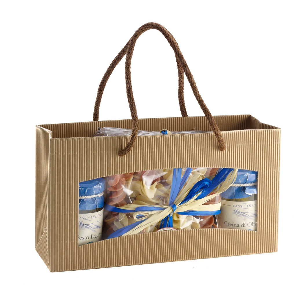 Medium fluted deli bag with window in beige (x25)