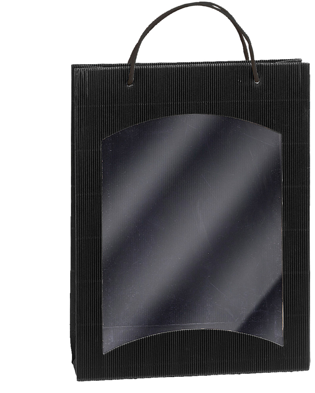 Fluted bag with window for 3 bottles in black (loose cord) (x25)