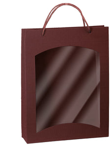 Fluted bag with window for 3 bottles in red (x25)
