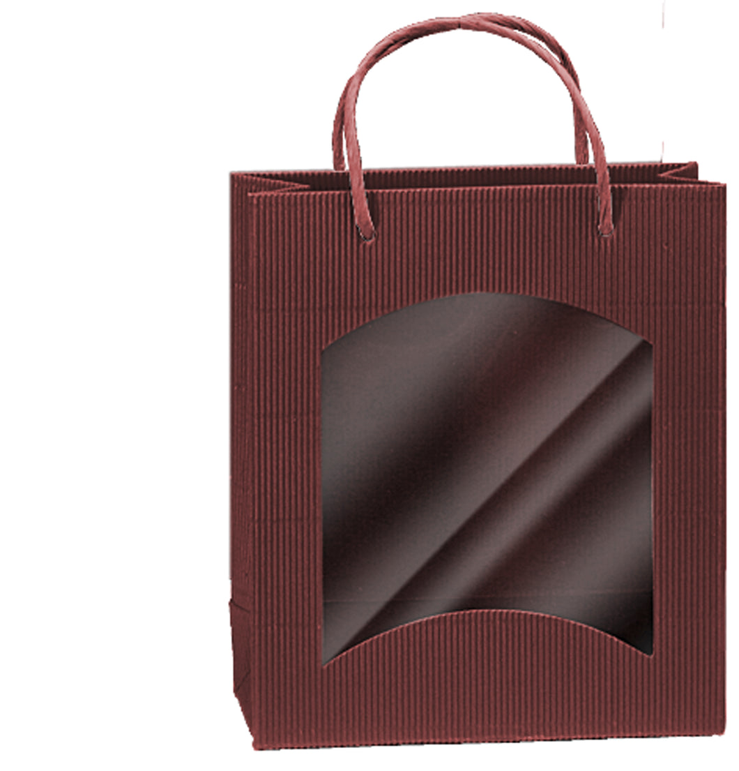Fluted deli bag with window in red (loose cord) (x25)