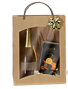 Fluted bag with window for 3 bottles in beige (x25)