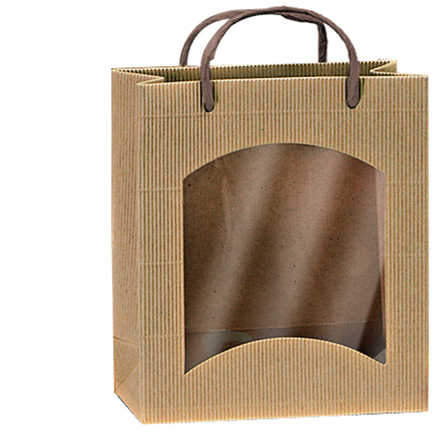 Fluted bag with window for deli products in beige (loose cord) (x25)