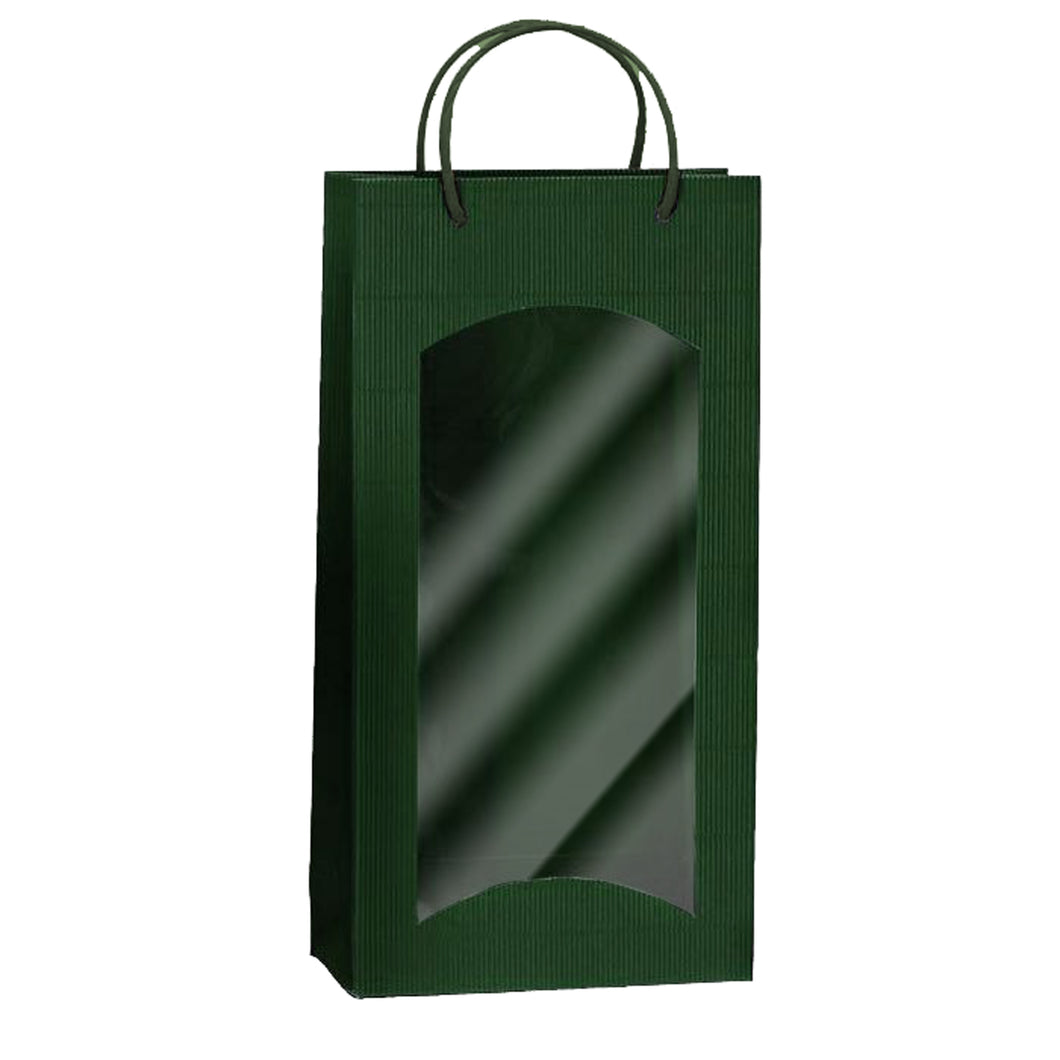 Fluted Bag with Window for 2 Bottles in green (x25)