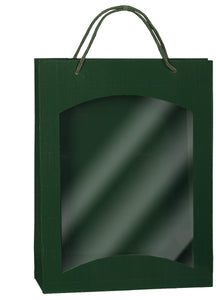 Fluted Bag with Window for 3 Bottles in green (x25)