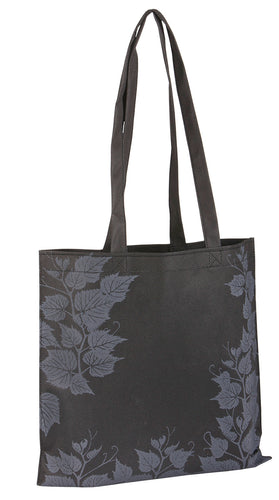 Emily shopper bag without gusset with leafy print in black (x50)