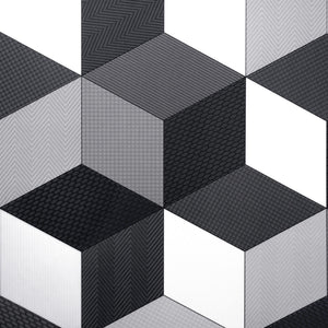 Black Cubes Retro Modern Pattern Primo Vinyl Flooring - Far