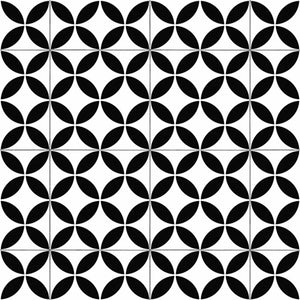 Black Retro Victorian Tile Pattern Primo Vinyl Flooring - Far