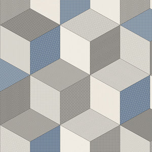 Blue Cubes Retro Modern Pattern Primo Vinyl Flooring - Far