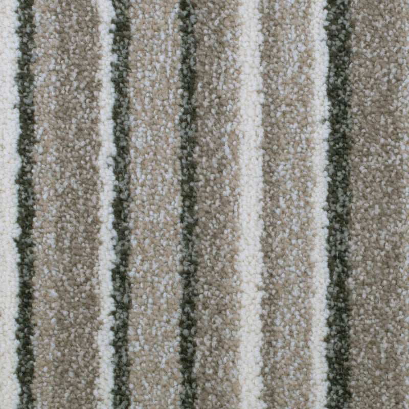 Cosy Beige Striped Supreme Saxony Carpet - Close