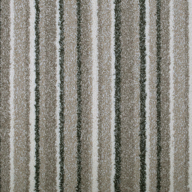 Cosy Beige Striped Supreme Saxony Carpet - Far
