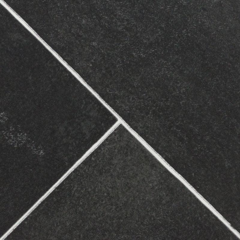 Dark Grey Herringbone Tile Primo Vinyl Flooring - Close