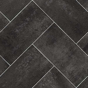 Dark Grey Herringbone Tile Primo Vinyl Flooring - Far