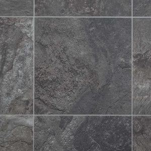 Dark Stone Tile Style Vinyl Flooring - Far