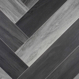 Grey Modern Parquet Wood Style Vinyl Flooring - Far