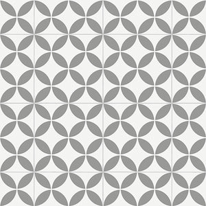 Grey Retro Victorian Tile Pattern Primo Vinyl Flooring - Far