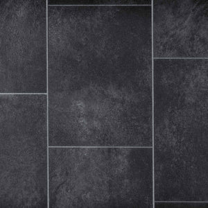 Grey Stone Tile Style Vinyl Flooring - Far