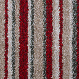 Red & Beige Striped Supreme Felt Back Saxony Carpet - Close