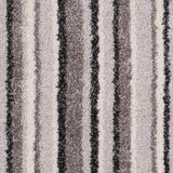Soft Grey Striped Supreme Action Back Saxony Carpet - Close