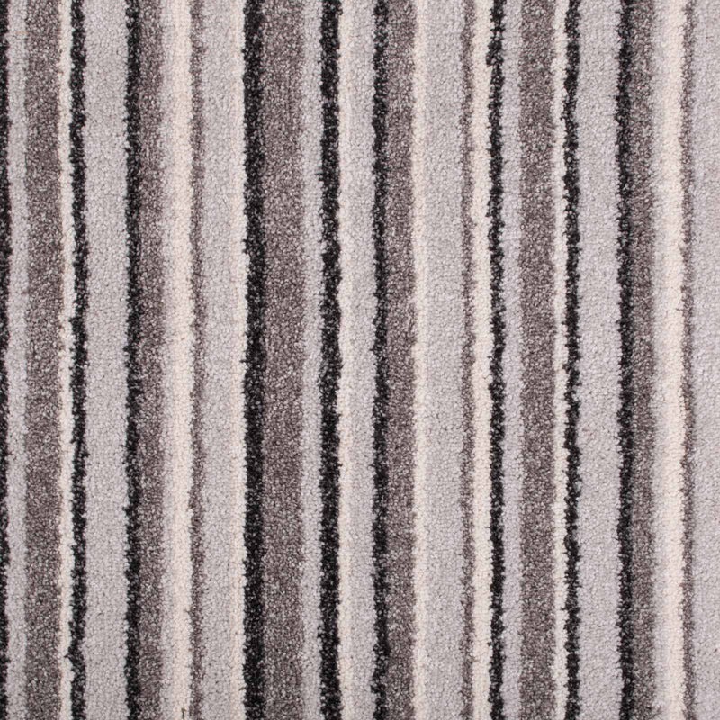 Soft Grey Striped Supreme Action Back Saxony Carpet - Far