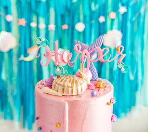 Mermaid Watercolor Name Cake Topper