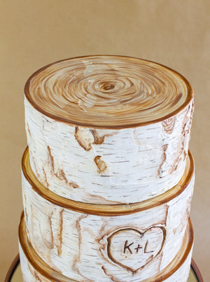 3 Tiered Birch Log Cake