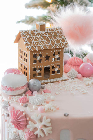 Ready to Ship Gingerbread House Drip Cake