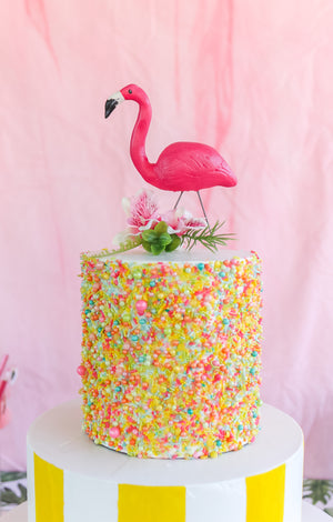 Flamingo Lawn Ornament Cake Topper