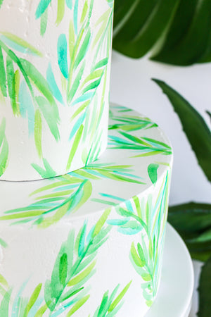 Watercolor Palm Leaf Cake