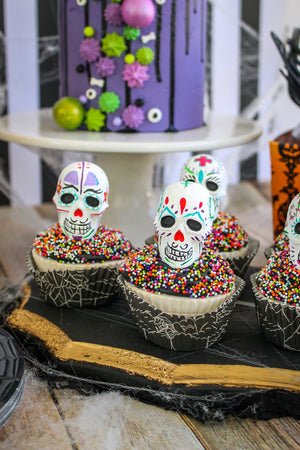 Ready to Ship Day of the Dead Cupcakes