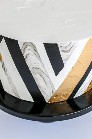 Geometric Marbled Leaf Cake