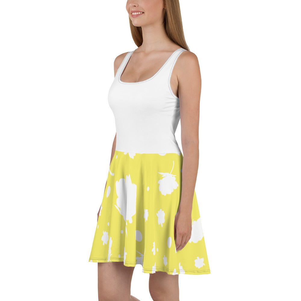 Yellow/ White Skater Dress