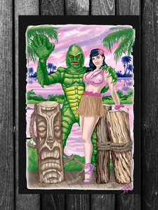 MANCAVE BANNER...TIKI BETTIE SWAMP THING