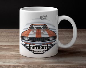 Detroit Thunder Muscle Orange Coffee Cup