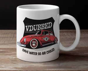 VDUBBED...SAVE WATER GO AIR COOLED CUP...red
