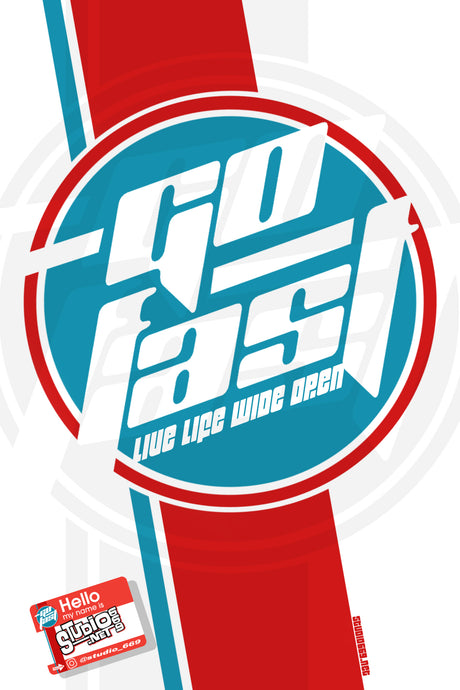 STUDIO 669 MANCAVE BANNER-GO FAST RED, WHITE & BLUE
