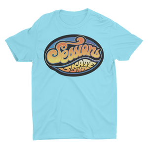 SESSIONS SKATE SHOP LOGO on LIGHT BLUE