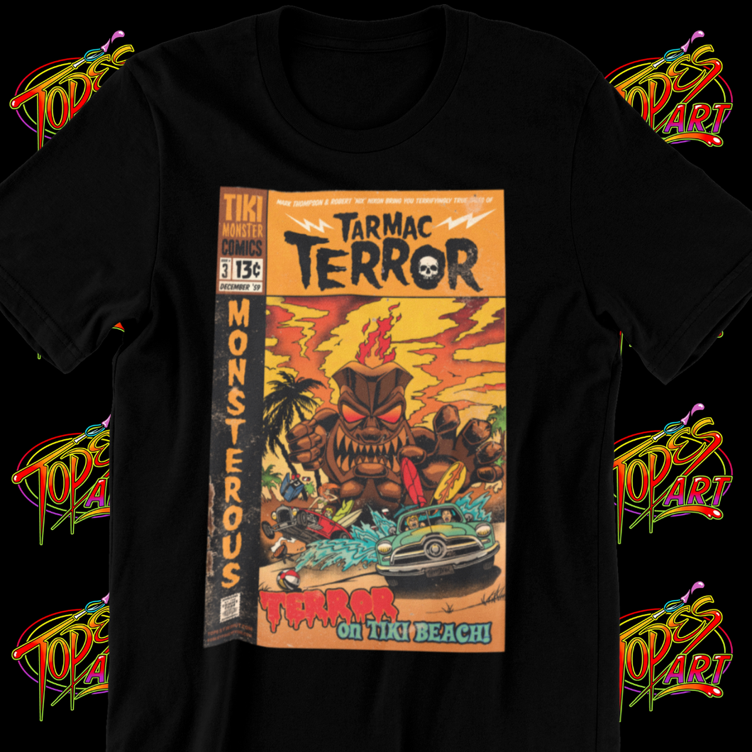 TARMAC TERROR ON TIKI BEACH (BLACK TEE)
