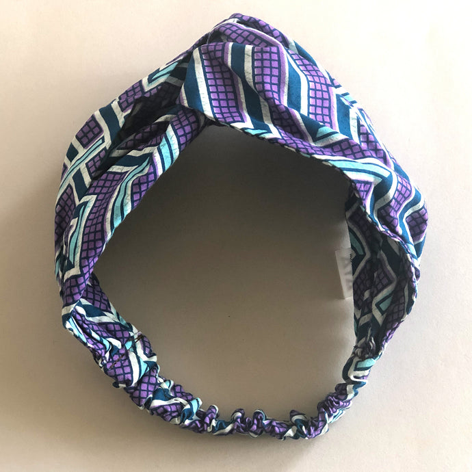 TURBAN HEADBAND [Purple Blocks]