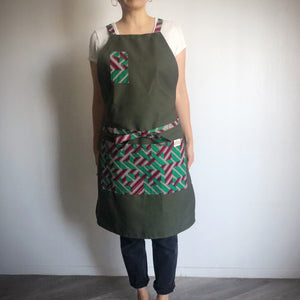 HAPPY APRON  [Pink Green x Olive]