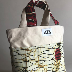 SMALL TOTE BAG [Red-Pineapple]