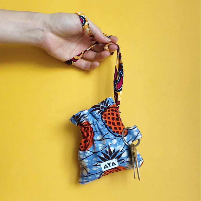 MASK POUCH + KEYCHAIN  [Orange Pineapple]