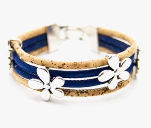 "Bracelet en liège naturel ""Flower Color"" Bleu Marine"